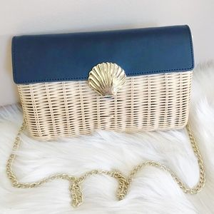 NWOT Talbots Rattan And Leather Bag